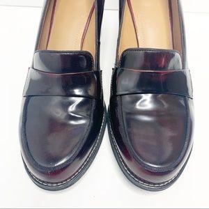 Clarks Artisan Oxblood pumps penny loafer heels